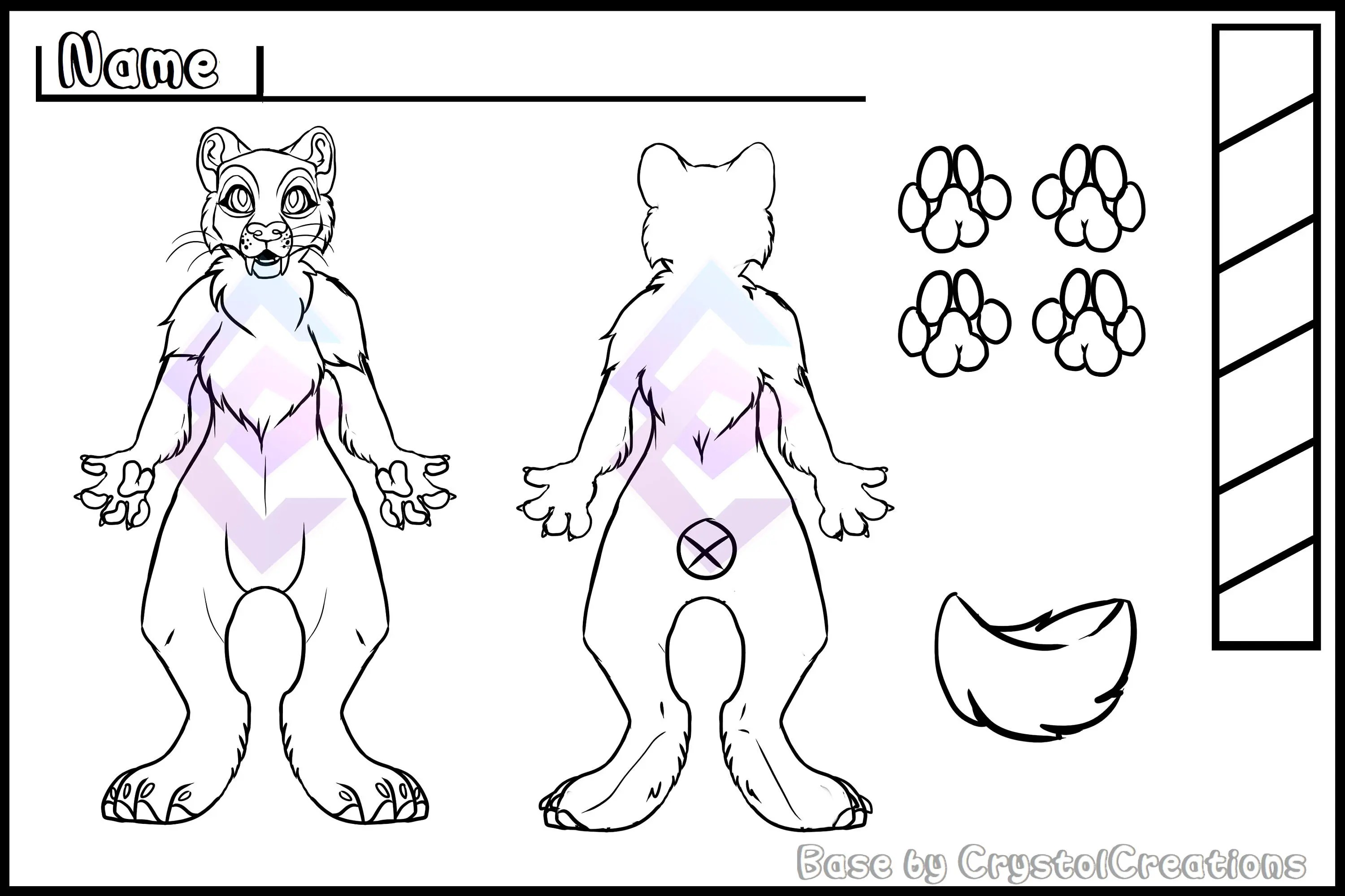 Sabre Cat Reference Sheet Base Big Cat Base Furry Etsy