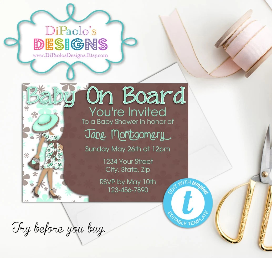 ON SALE DIY Printable Invitations Baby on Board Baby Shower Etsy
