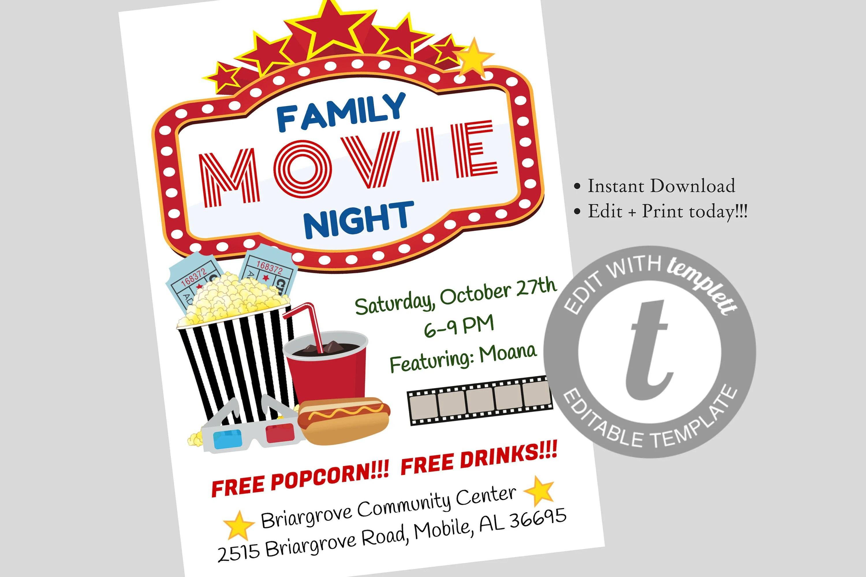 Family Movie Night Flyer Editable Template Movie Night Etsy