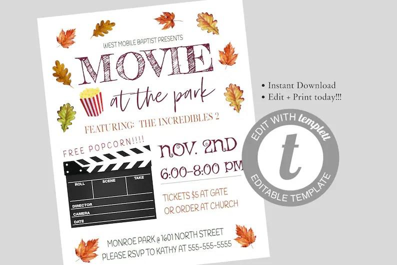 EDITABLE Movie Night Flyer School Church Benefit Flyer Etsy
