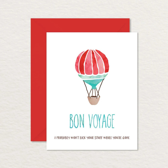 Printable Farewell Card / Watercolor Hot Air Balloon A2 / Etsy
