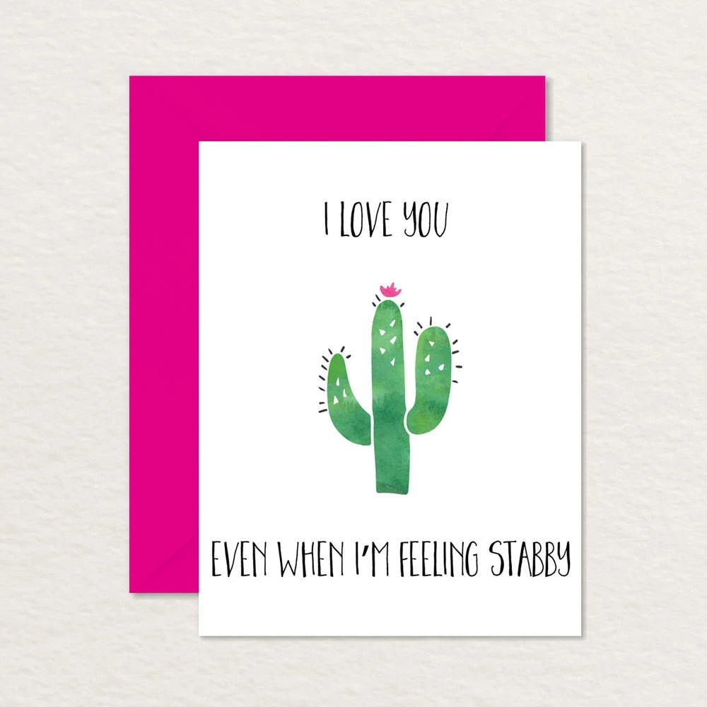 Funny Valentine / Cactus Card A2 / Relationship Card / Etsy