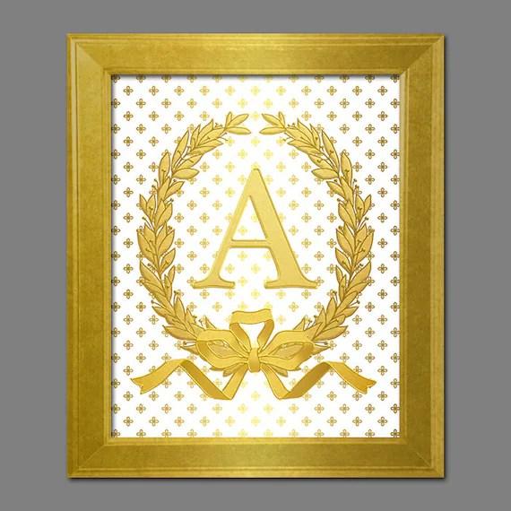Digital Printable Art Faux Gold Monogram A Letter A Print Gold Etsy