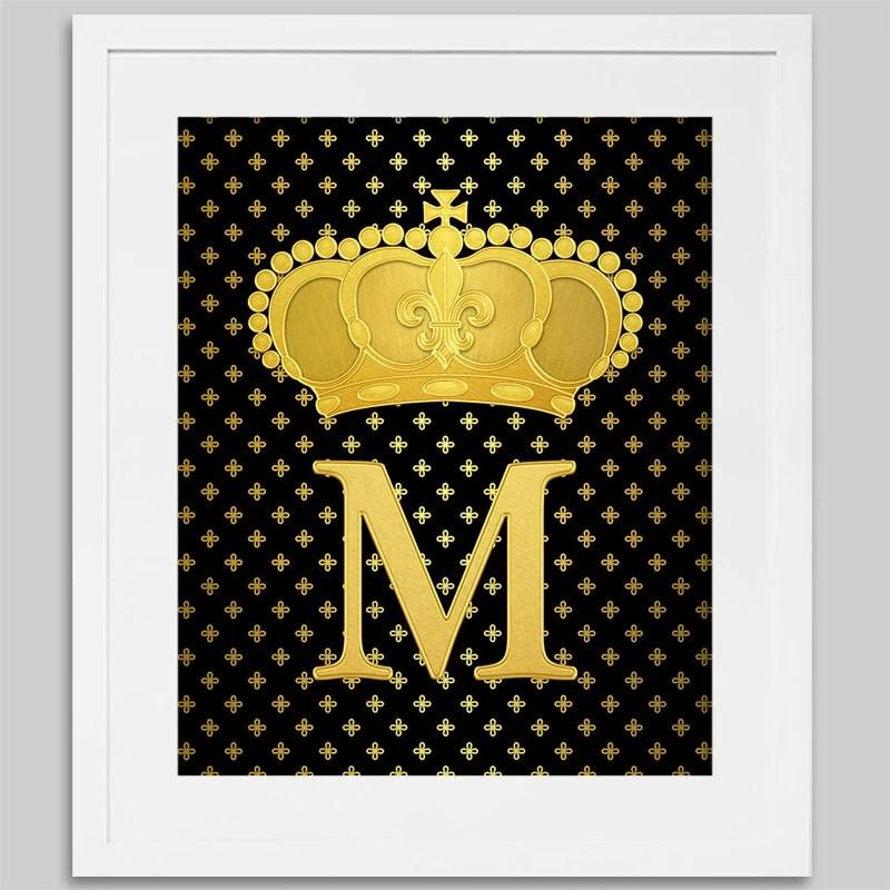 Printable Art Faux Gold Foil Print Monogram Letter M With Etsy