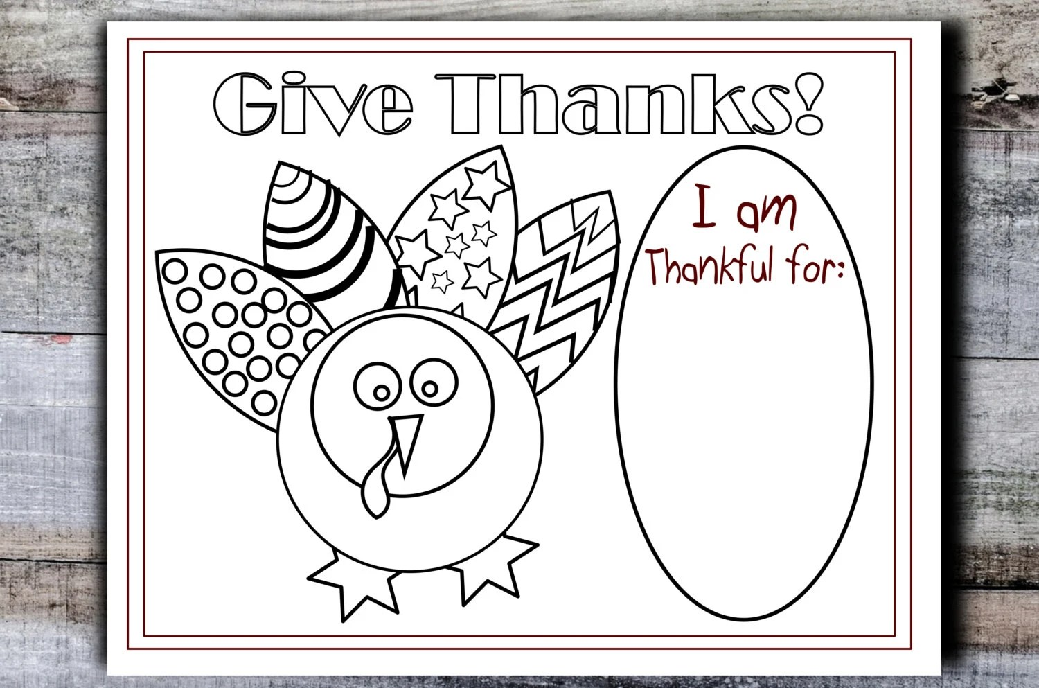 Printable Thanksgiving placemat kids table turkey coloring Etsy