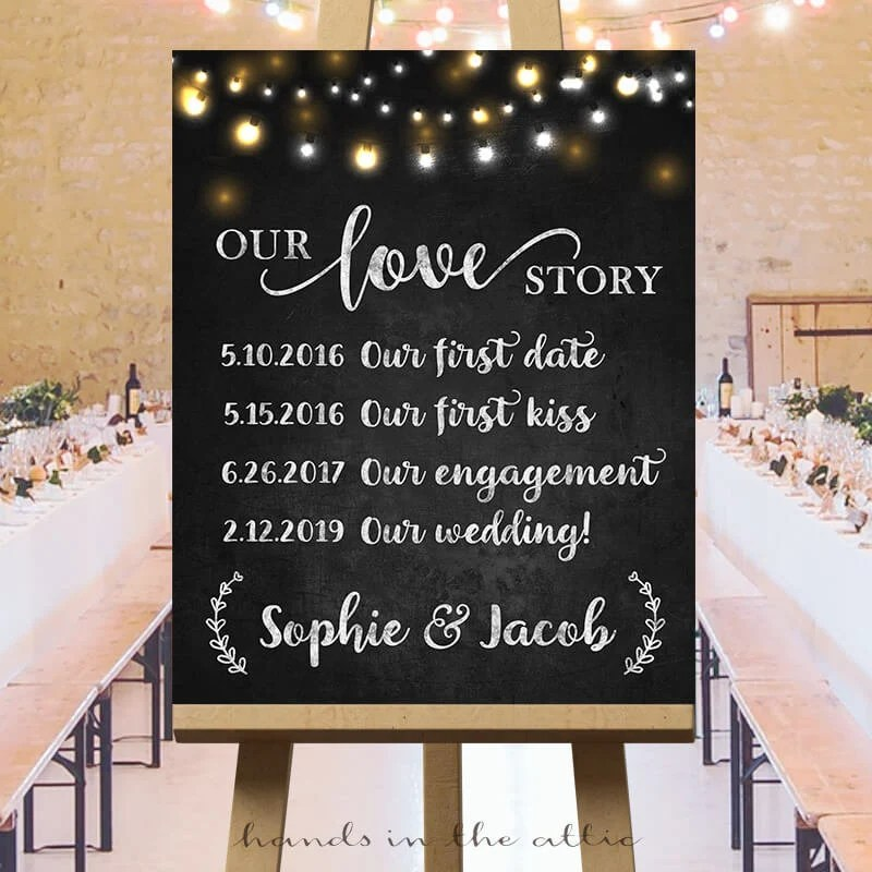 Wedding love story sign, printable large wedding signs, our love