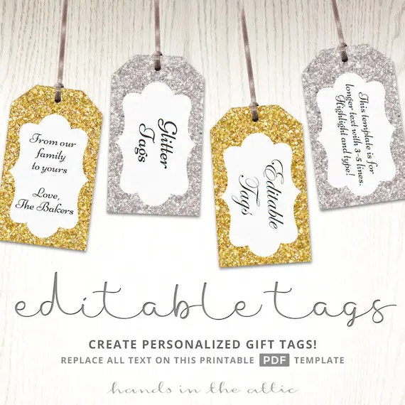Glitter gift tags, gold, silver, printable, editable template
