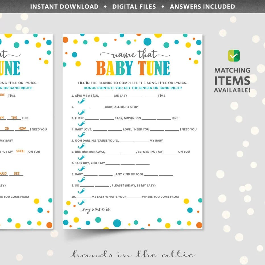 Name that baby tune game template PRINTABLE shower game card Etsy