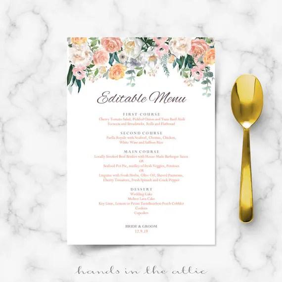 Wedding buffet menu cards, floral diy template, wedding dinner menu