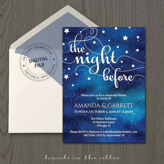Rehearsal dinner invitation template, wedding rehearsal the night