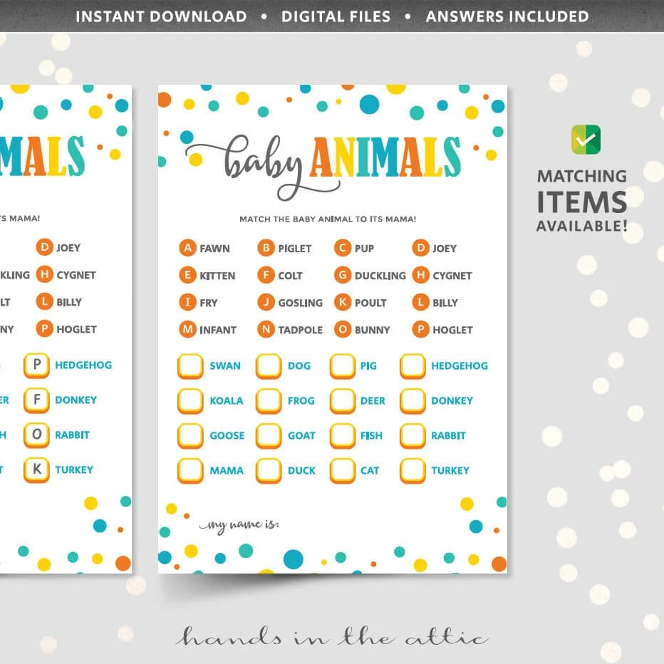 Baby animals matching game with answer key, who\u0027s my mama PRINTABLE