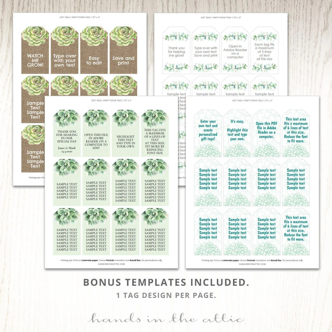 Succulent plant labels gift tags potted cactus seeds watch me Etsy