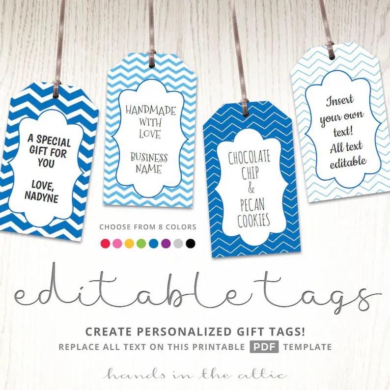 Editable gift tags gift tag template text editable chevron Etsy