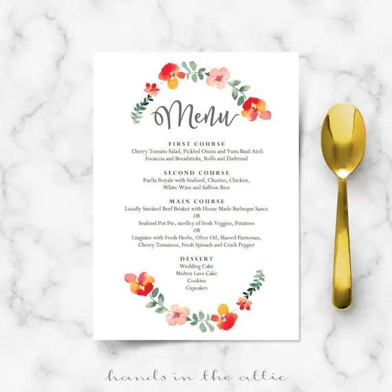 Wedding menu cards template food reception brunch floral Etsy