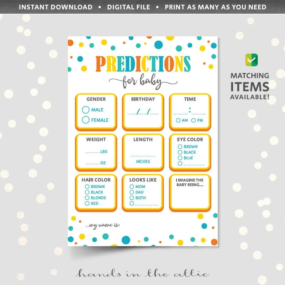 Baby shower prediction cards PRINTABLE game sheet template Etsy