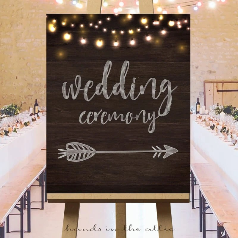 Wedding ceremony direction signs large printable arrow signs Etsy