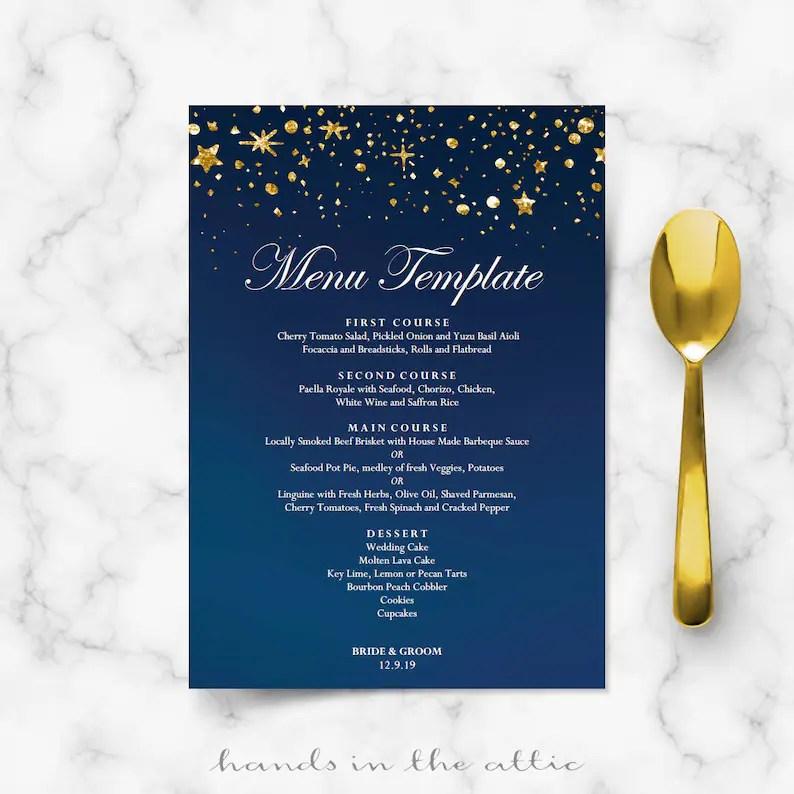 Starry night wedding menu cards DIY template gold glitter Etsy