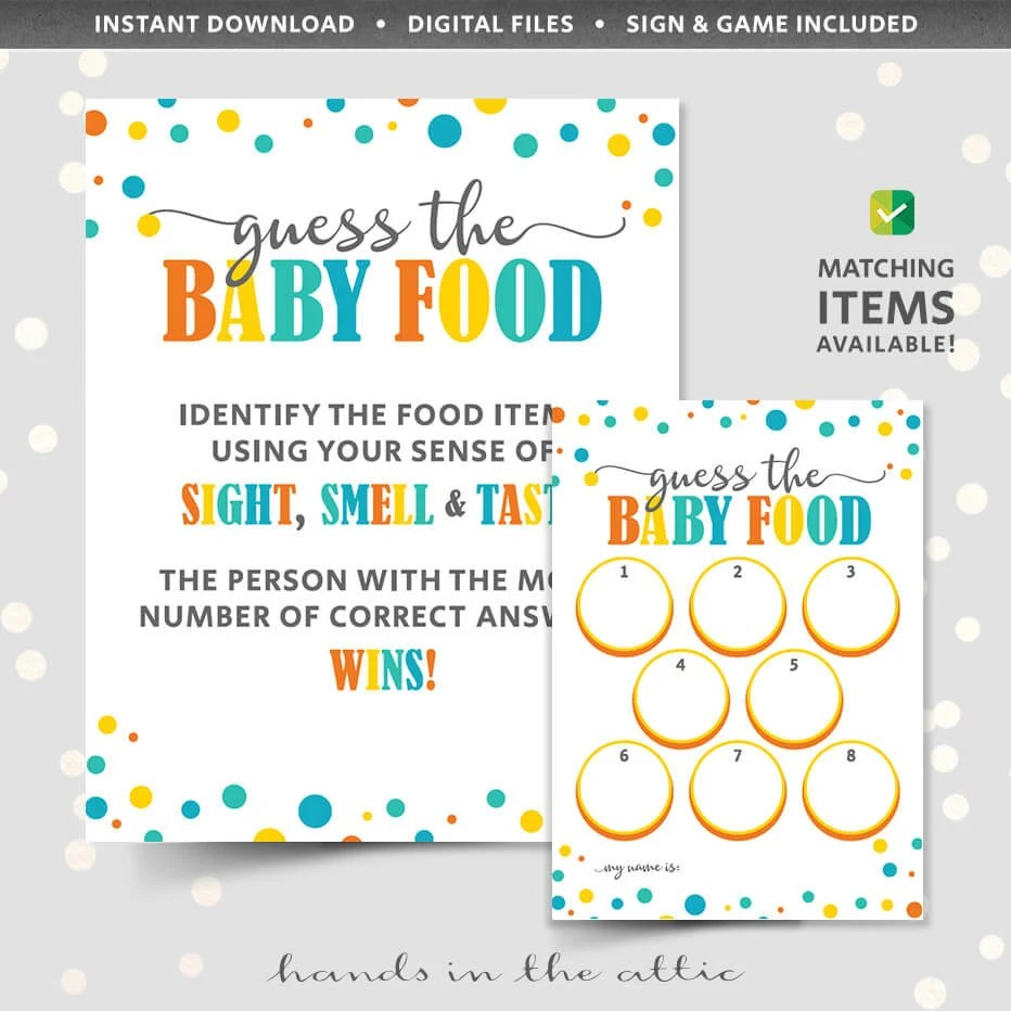 Baby food game shower guessing game PRINTABLE template name Etsy