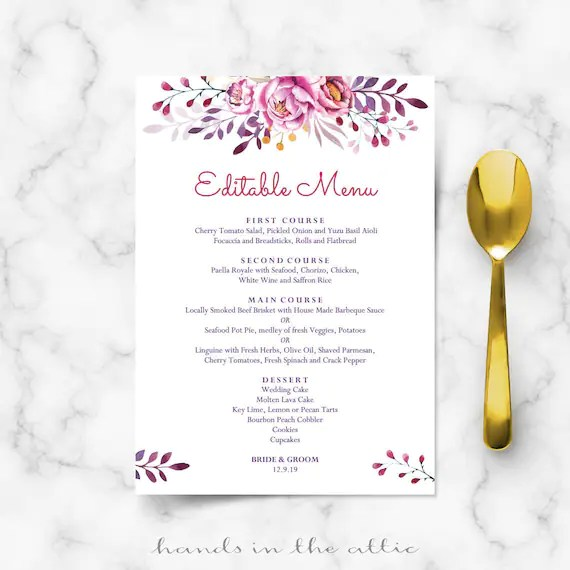 Printable menu cards, do it yourself DIY, card template, wedding