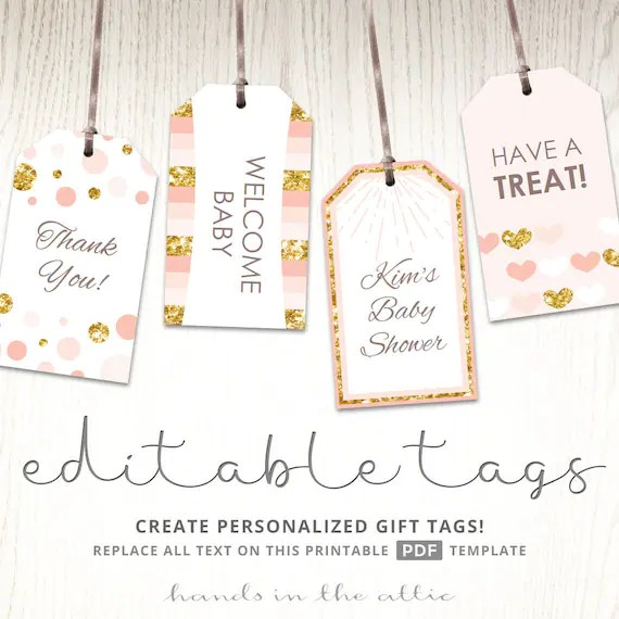 Pink and gold gift tags, editable party favor tags, printable tags