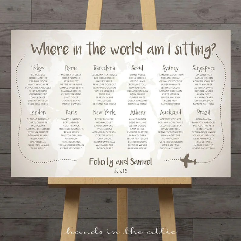 World map wedding seating chart travel theme city destination Etsy