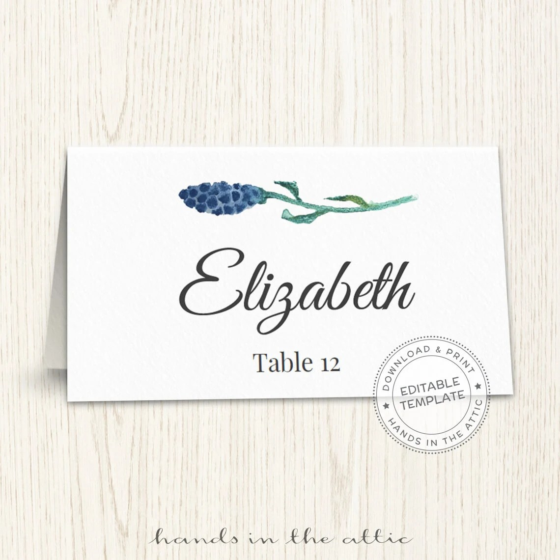 Floral wedding placecard template, printable escort cards, wedding