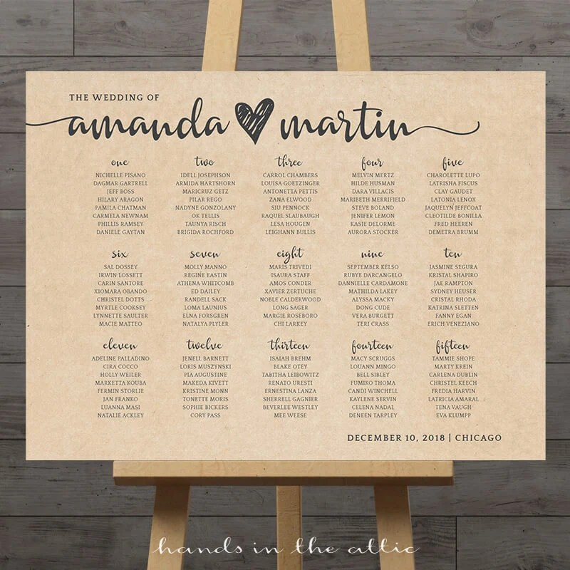 Large wedding seating chart printable guest table assignment Etsy