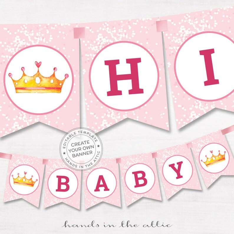 DIY banner pink baby shower template editable name garland Etsy