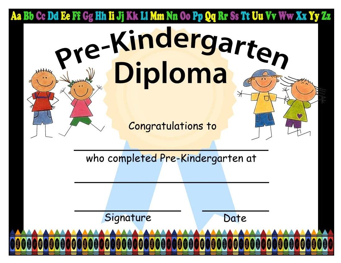 Pre-Kindergarten Graduation Diplomas Blank Graduation Etsy