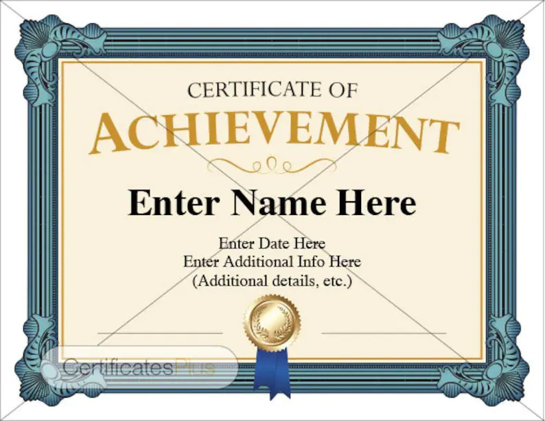 Certificate of Achievement Award business certificate Etsy