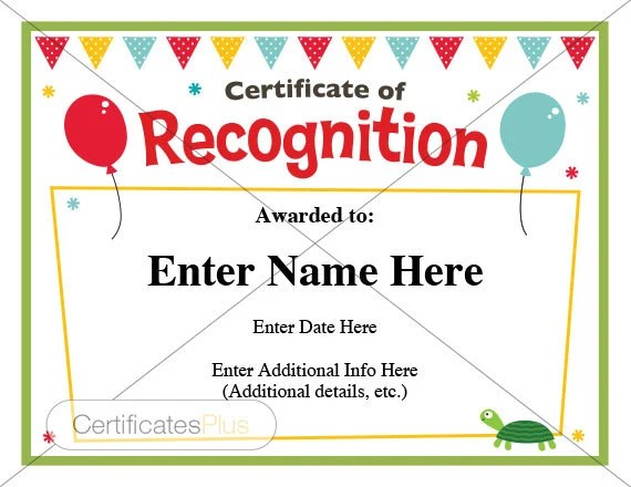Certificate of Recognition kid certificate child Etsy
