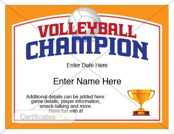 Volleyball Certificate Volleyball award template Volleyball Etsy