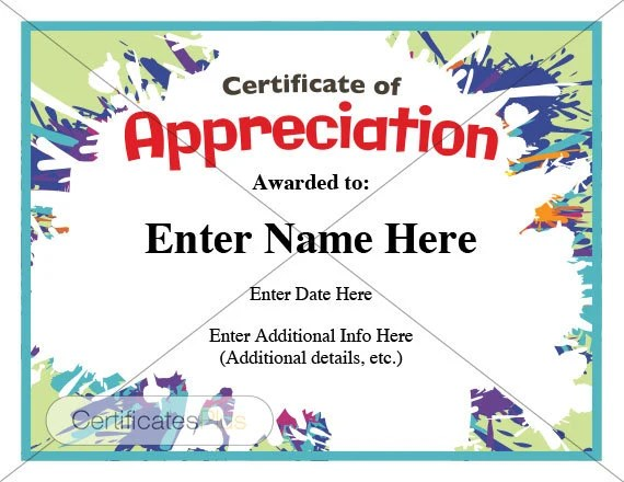 Certificate of Appreciation kid certificate child Etsy