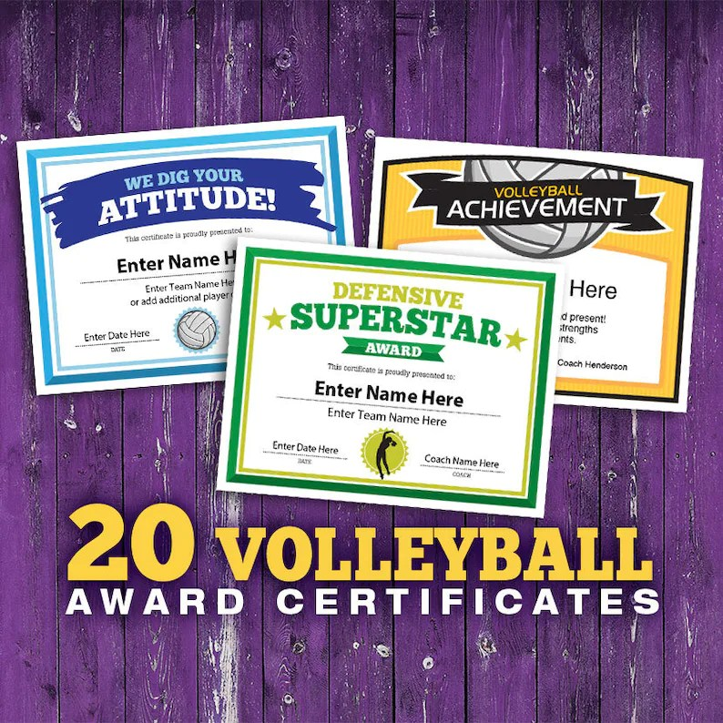 Volleyball Certificates 20 Volleyball Award Templates Etsy