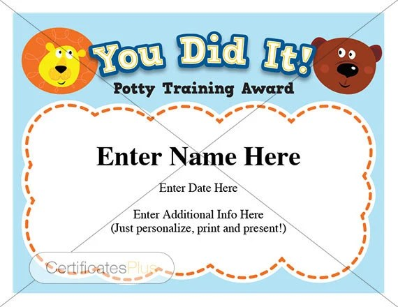 Potty Training certificate kids certificates child Etsy