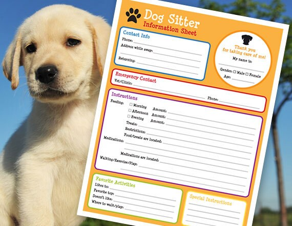 Dogsitter Information Form dog sitter puppy instructions Etsy