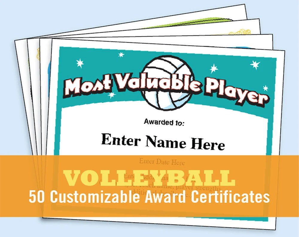 Volleyball Certificates kid certificates Child Certificate Etsy