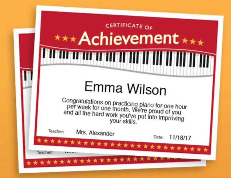 Piano Achievement Certificate Piano Award Printables child Etsy