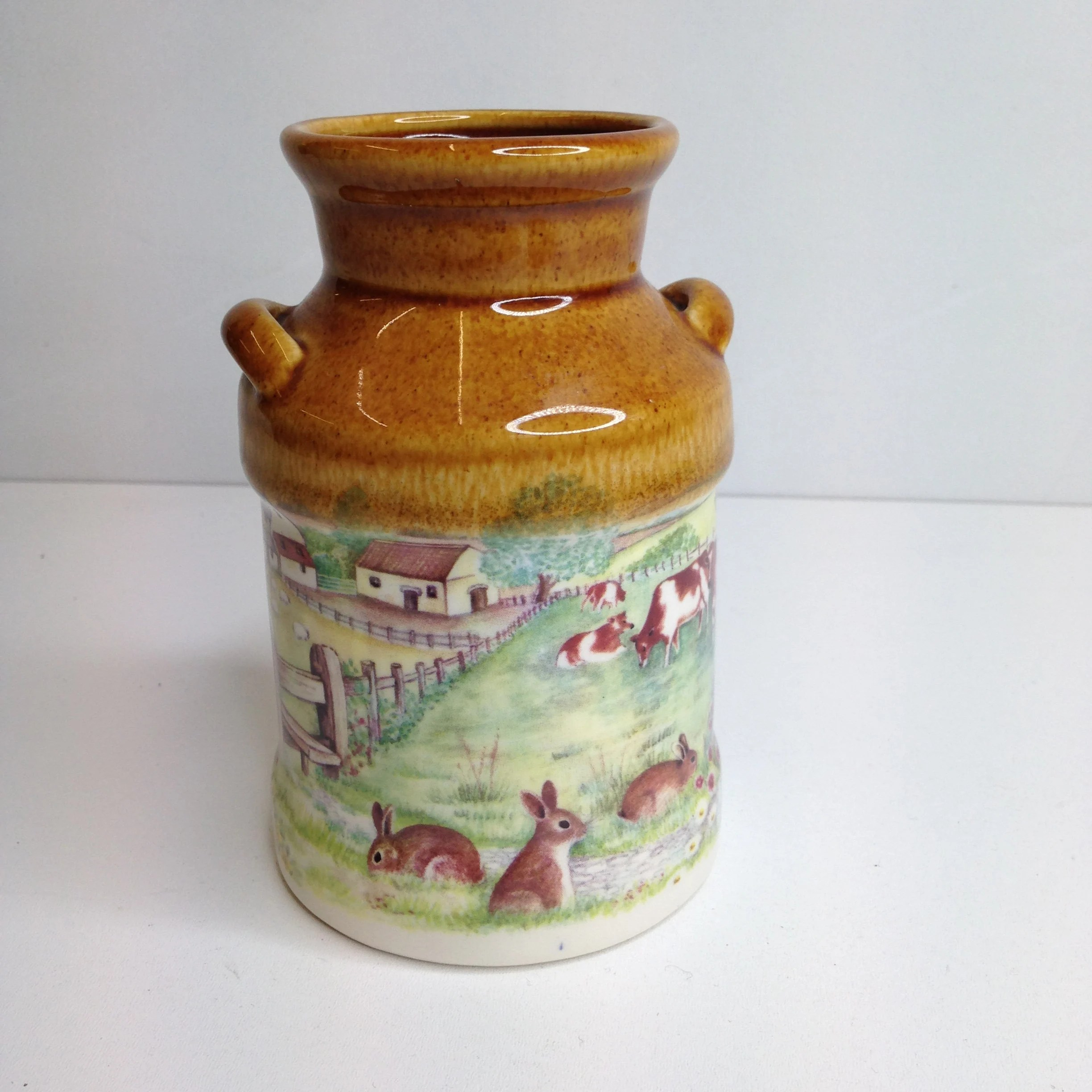 Decorative Milk Urn Vintage Pressingoll Pottery Decorative Milk Urn Utensil Holder With Farm Scene Cows Rabbits Overall Good Condition