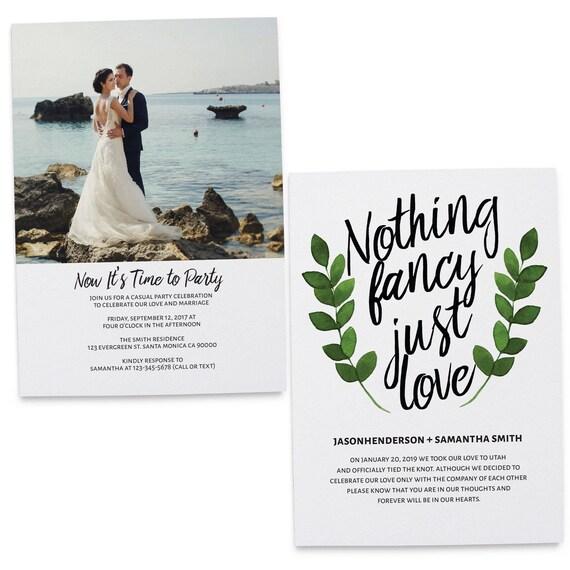 Wedding Invitation Flat Cards Wedding Announcement Cards Etsy