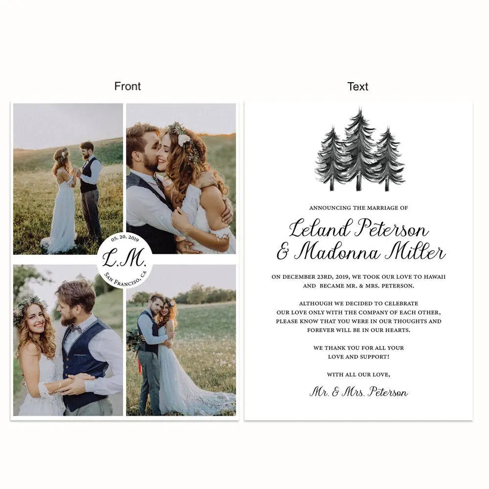 Mountain Minimalist Simple Elopement Announcement Cards with Etsy