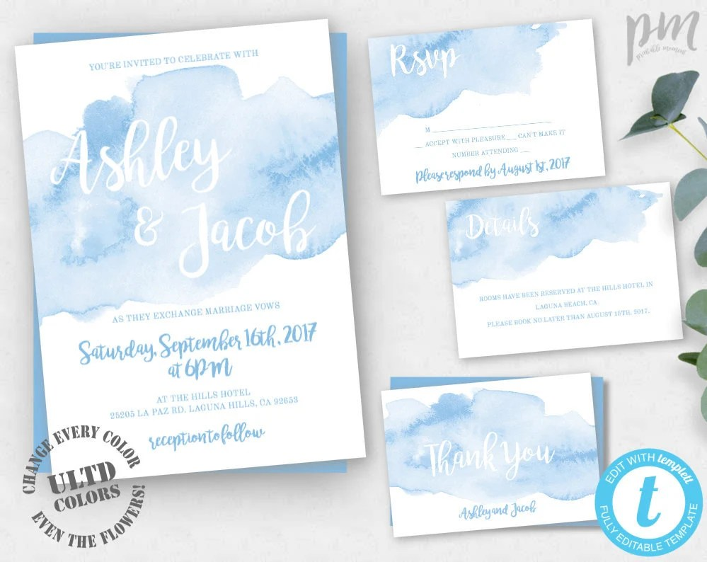 Light Blue Watercolor Wedding Invitation Template Set Blue Etsy