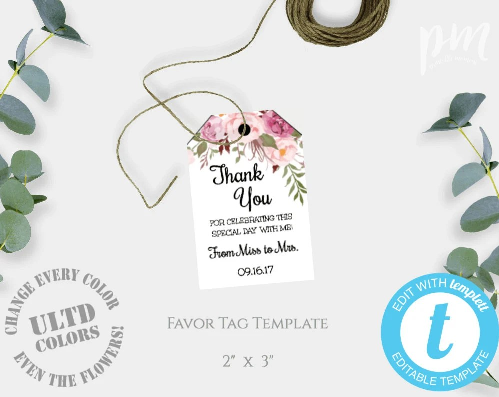 Thank You Tags Bridal Shower Thank You Thank You Tag Shower Etsy