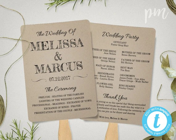 Rustic Wedding Program Fan Template Fan Wedding Program Etsy - how to design wedding program template