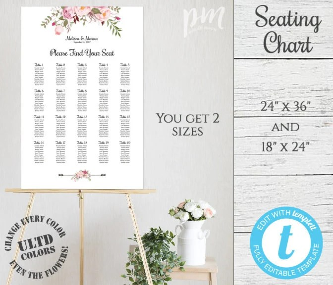 Pink Floral Wedding Seating Chart Template Wedding Seating Etsy