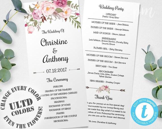 Pink Floral Wedding Program Instant Download Bohemian Floral Etsy