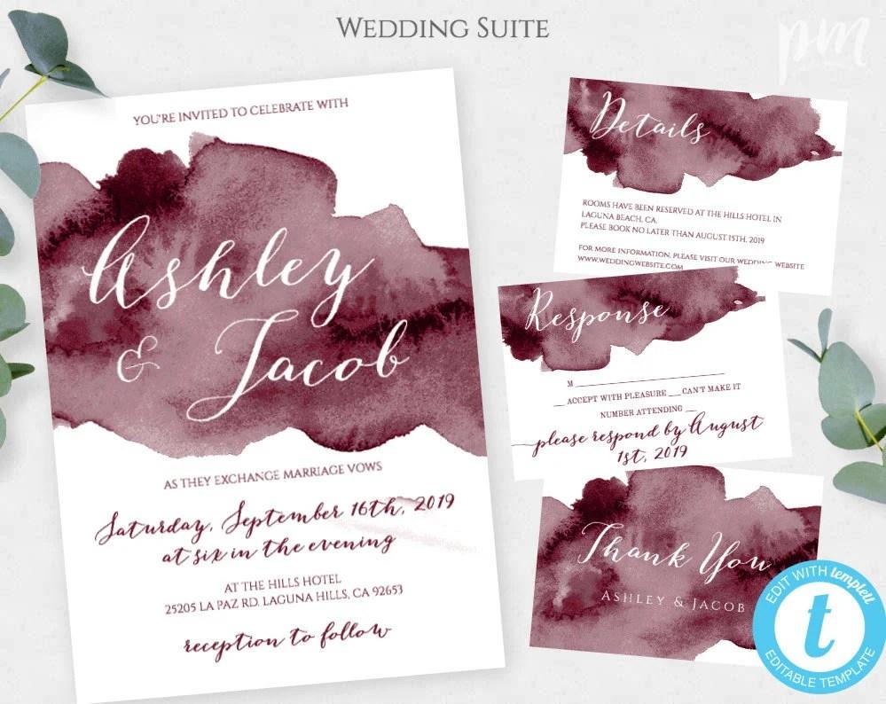 Burgundy Watercolor Wedding Invitation Template Set Marsala Etsy