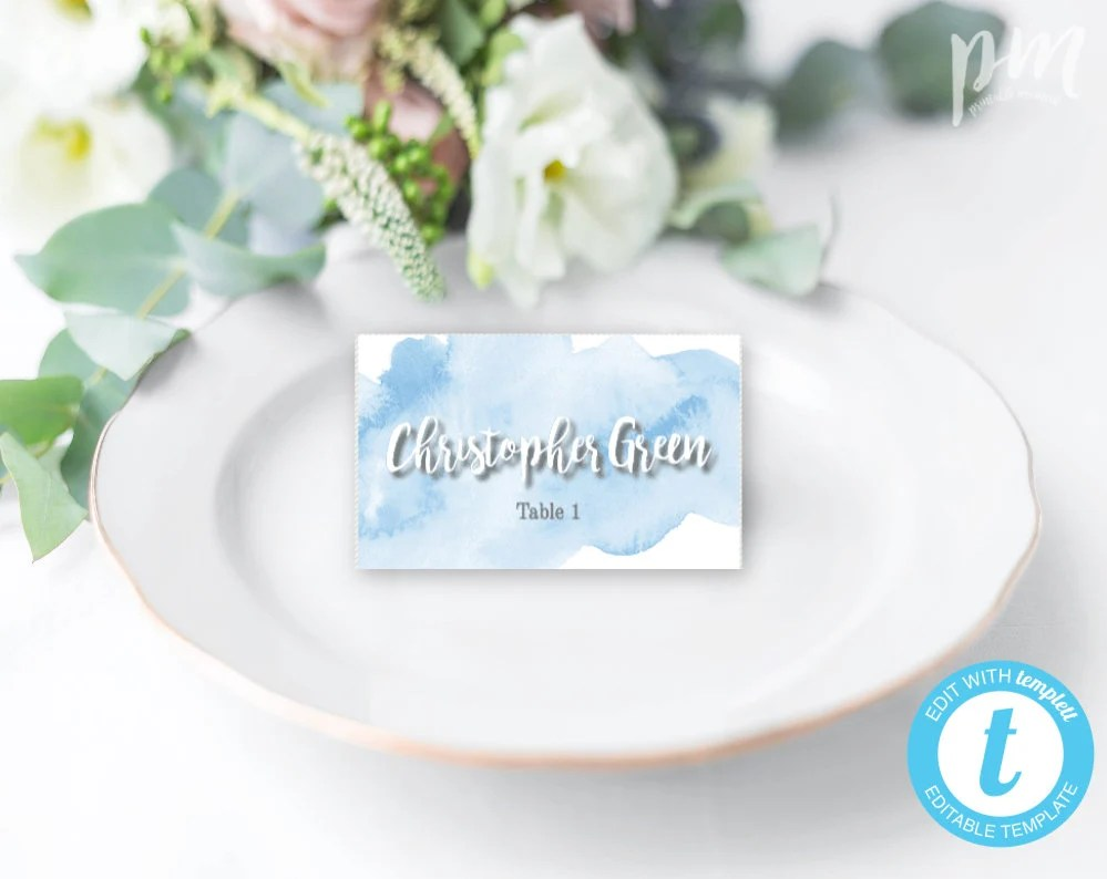 Light Blue Watercolor Wedding Place Card Template, Escort Cards