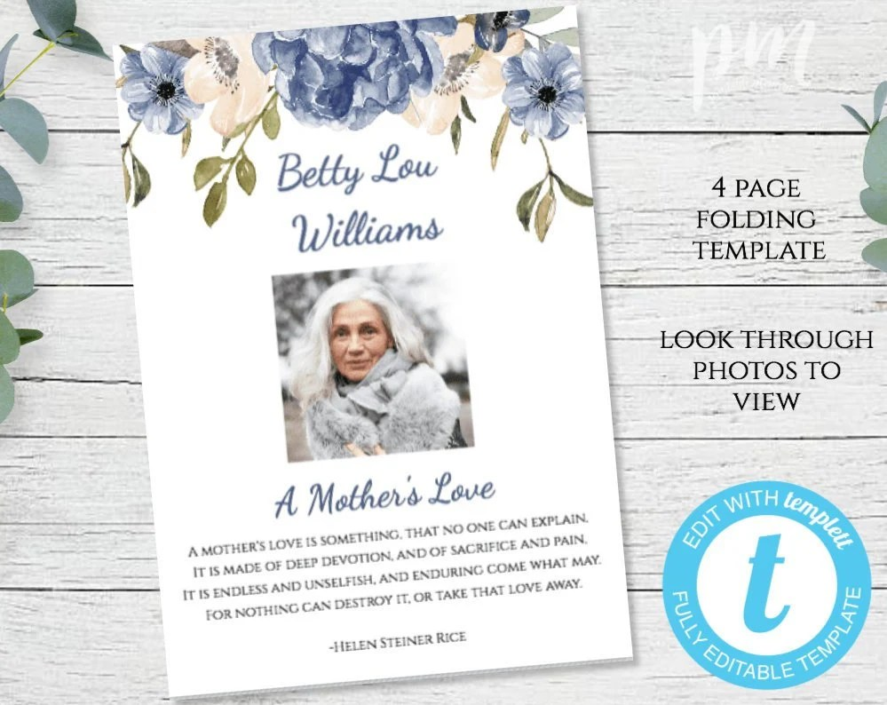 Blue Floral Funeral Template Instant Download In Loving Etsy