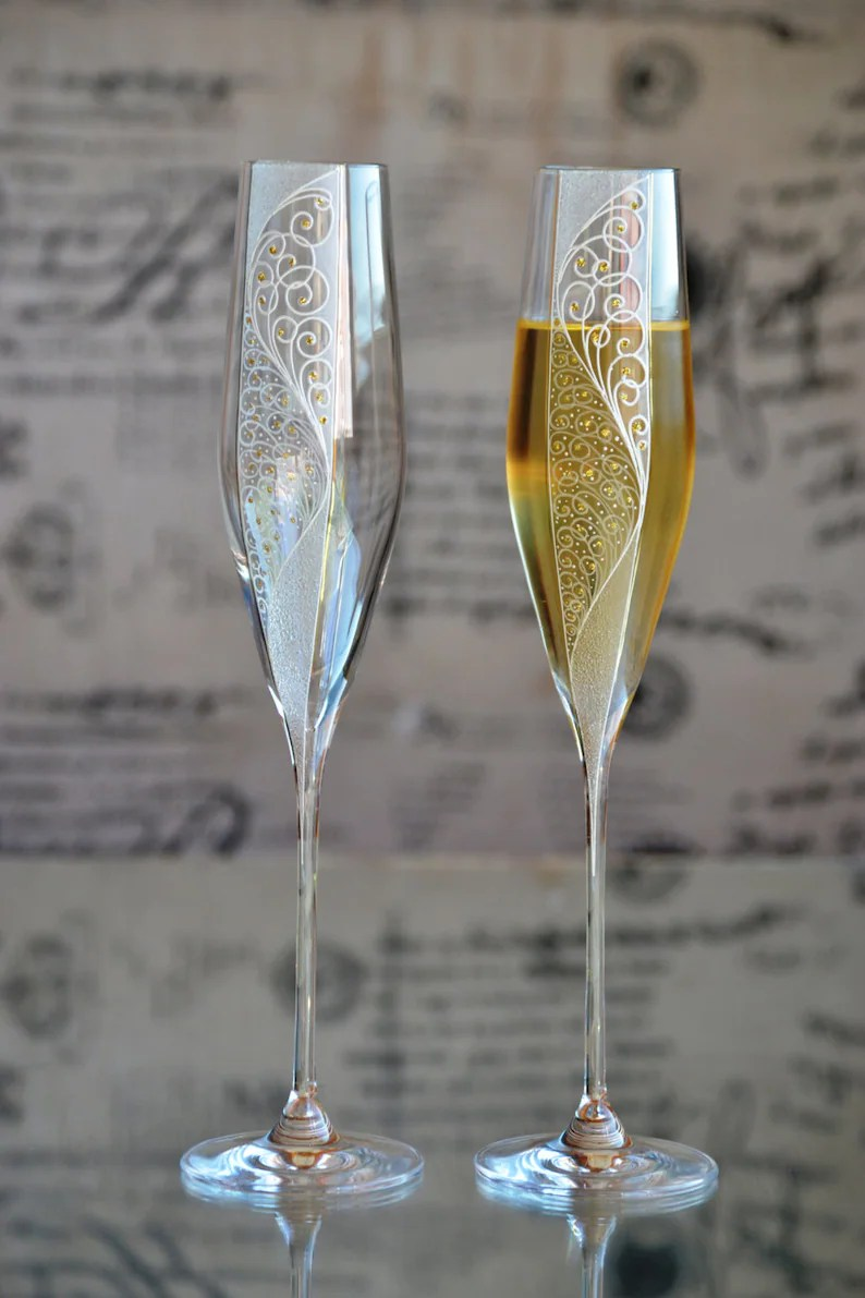 Glas Sektgläser Champagne Flutes Gold Wedding Glass Set Wedding Glasses For Bride And Groom Hand Painted Champagne Flutes Sektgläser Hochzeit